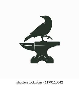 Crow and Anvil Logo, Symbol, Sign Design.