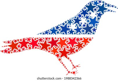Crow bird collage of stars in various sizes and color tinges. Crow bird illustration uses American official blue and red colors of Democratic and Republican political parties, and star parts.