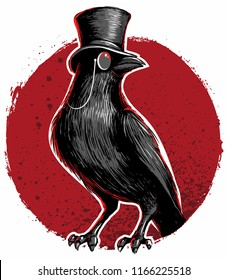 Crow, blackbird with top hat and monocle.