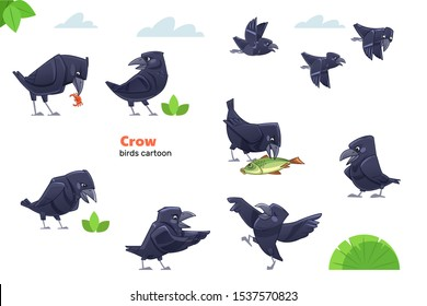 Crow cartoon character. Crows showing various emotions and actions. Cute cartoon characters of wildlife. Flat vector isolated design for mobile app, sticker, kids print, greeting card