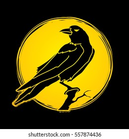 Crow designed on moonlight background graphic vector.