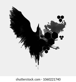 The crow is drawn in ink, the wings of a raven. Silhouette of a crow. Strokes