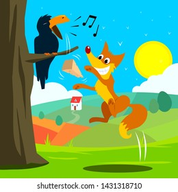 Crow and Fox Fabl Vector Illustration for Children Books, Magazines, Web Pages, Blogs.