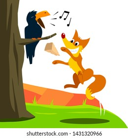 Crow and Fox Fabl Vector Illustration for Children Books, Magazines, Web Pages, Blogs. White Background Isolated.