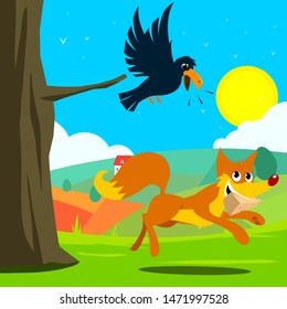 crow and fox fable vector illustration.