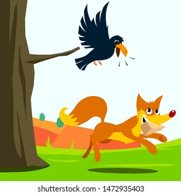 crow and fox fable vector illustration. white background isolated
