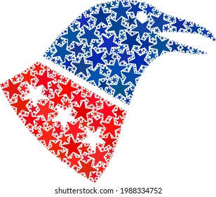 Crow head mosaic of stars in various sizes and color tinges. Crow head illustration uses American official blue and red colors of Democratic and Republican political parties, and star parts.