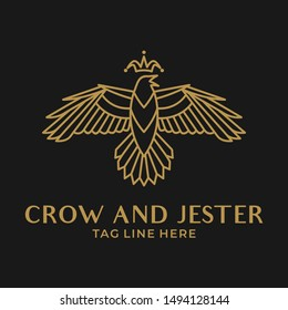 crow and jester logo vector template design