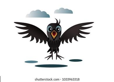 crow with an open beak