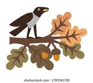 Crow sitting on an oak branch with colorful leaves. Vector illustration of autumn nature. Isolated drawing on a white background.
