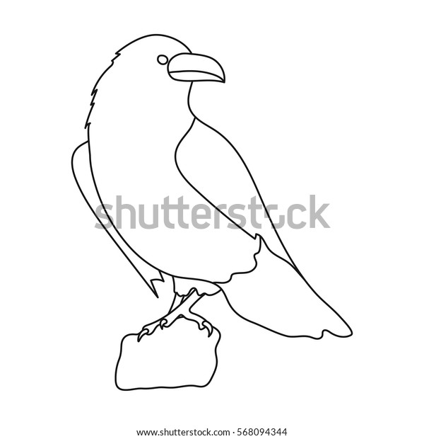 Crow of viking god icon in outline style isolated on white background. Vikings symbol stock vector illustration.
