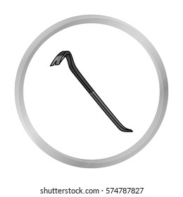 Crowbar icon in monochrome style isolated on white background. Crime symbol stock vector illustration.