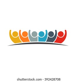 Crowd of 6 People Group Logo. Vector graphic design