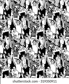 Crowd active happy  people seamless black pattern. Crowd of active happy people black and white seamless pattern. Vector illustration. EPS 8