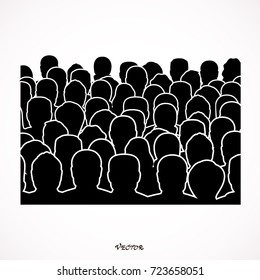 Crowd of anonymous people, vector illustration of society members with a crowd of men and women. population. urban lifestyle concept.
