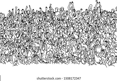 crowd of audience cheering on stadium vector illustration sketch doodle hand drawn with black lines isolated on white background