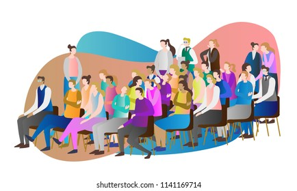 Crowd audience vector illustration. Group of people, person and spectators together watching, sitting, standing and whispering at speech, presentation, symposium or conference. Many adult students.