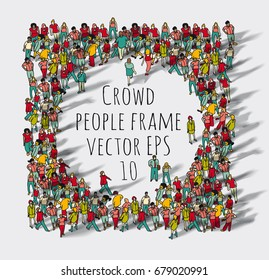 Crowd big group people frame. Color vector illustration. EPS8