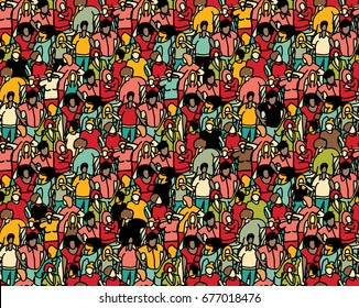 Crowd, big group people in a seamless pattern. Color vector illustration. EPS8