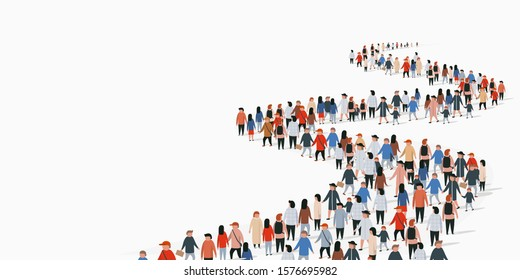 Crowd of buisness people standing in a line. People crowd. Vector illustration