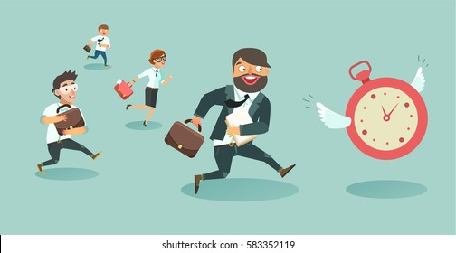 Crowd of businessmen running race. Workers run after the clock. Deadline concept.