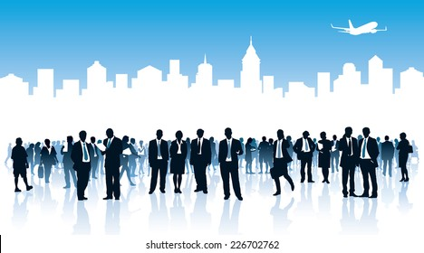 Crowd of businesspeople standing over white city