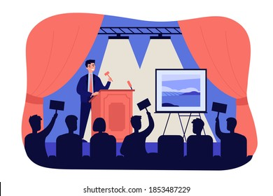 Crowd of buyers bidding at auction isolated flat vector illustration. Cartoon man standing near picture on stage, selling painting and holding gavel. Art gallery and public sale concept