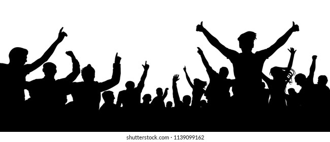 Crowd of cheer silhouette. People party fan sport audience