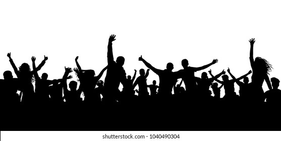 Crowd cheerful people silhouette. Happy group of young people dancing at musical party, concert, disco. Joyful mob. Sports fans, applause, cheering. Vector on white background