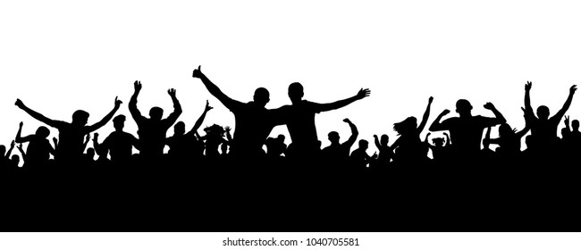 Crowd cheerful people silhouette. Joyful mob. Happy group friends of young people dancing at musical party, concert, disco. Sports fans, applause, cheering. Vector on white background