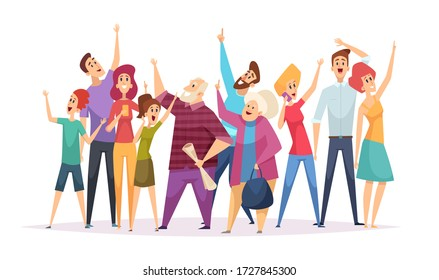 Crowd concert. Vector happy people looking up pointing in sky fans at concert vector persons cartoon illustrations
