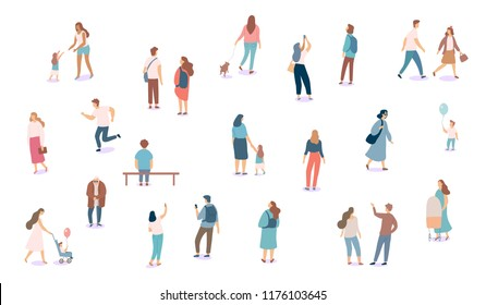 Crowd. Different People vector set4. Male and female flat characters isolated on white background.