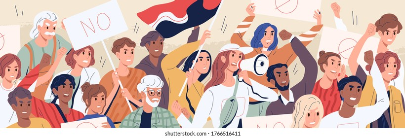 Crowd of diverse people on demonstration vector flat illustration. Angry man and woman protest hold megaphone and placard. Protesting aggressive person at political meeting, parade or rally