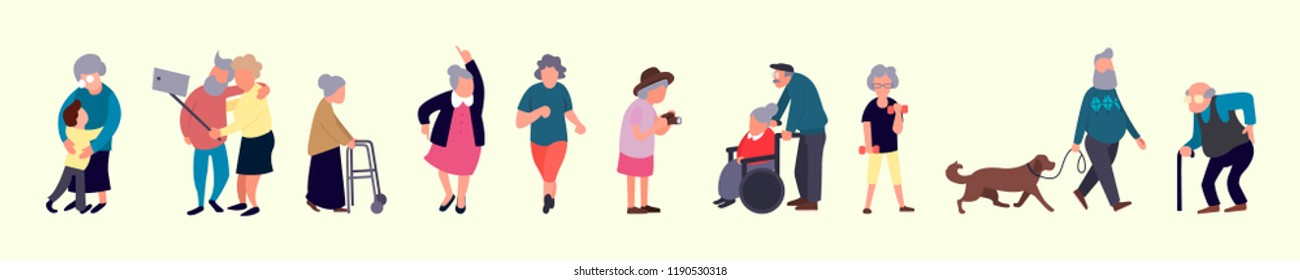 Crowd of elderly people. Senior outdoor activities. Old men and women walking. Recreation and leisure senior activities concept