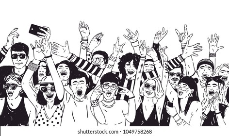 Crowd of excited people or music fans with raised hands. Spectators or audience of summer open air festival hand drawn with black contour lines on white background. Monochrome vector illustration