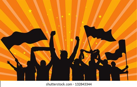 crowd of fans vector silhouette