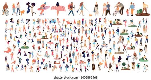 Crowd of flat illustrated people. Dancing, surfing, traveling, walking, working, playing people set. Vector big set