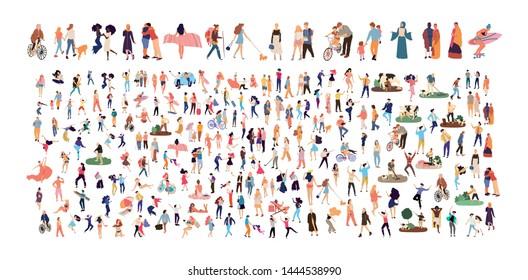 Crowd of flat illustrated people. Dancing, surfing, traveling, walking, working, playing, fashion people set. Vector big set