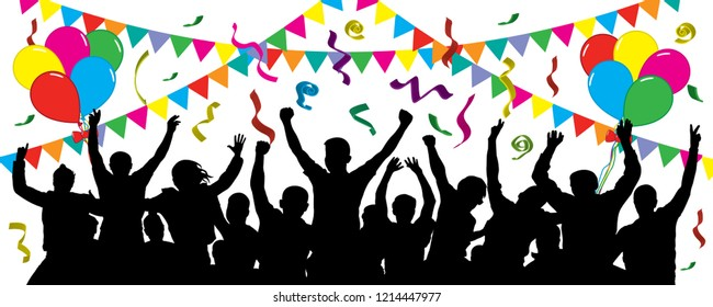 Crowd of fun people on party, holiday. Cheerful event. People having fun celebrating. Balloons, ribbons, confetti. Festive mood of people. Applause people hands up. Silhouette Vector Illustration
