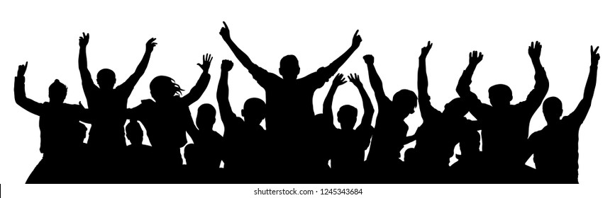 Crowd of fun people on party, holiday. Cheerful people having fun celebrating. Applause people hands up. Holiday victory. Cheer people sport fan. Detached crowd. Silhouette Vector Illustration
