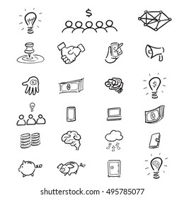 Crowd funding cartoon drawing icons