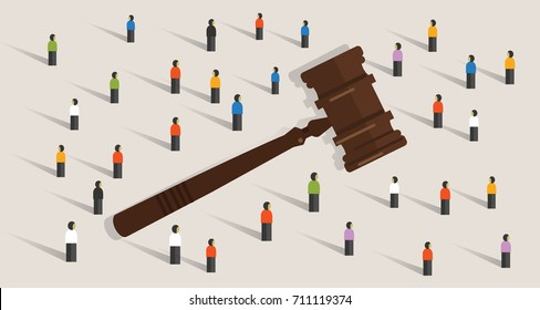 crowd and gavel hammer symbol concept of social judgment decision in legal and ethics where policy decided by majority vote