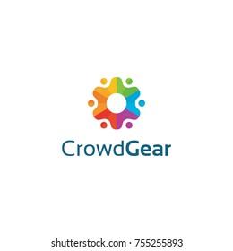 Crowd Gear Logo. Community Logo design.