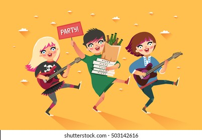"Crowd of girls going to the party. Youth lifestyle. Happy young girls with guitars and packages of beer, pizza and ""Party"" placard. Colorful vector illustration in flat style"