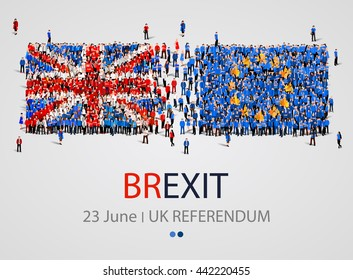 Crowd or group of people in form of British and Europe flags moving in different directions. United Kingdom European Union membership referendum. Brexit. Vector illustration