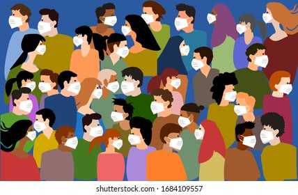 Crowd group of peoples wearing face mask on public street illustration vector