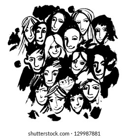 Crowd (hand-drawn by dry brush). Vector.