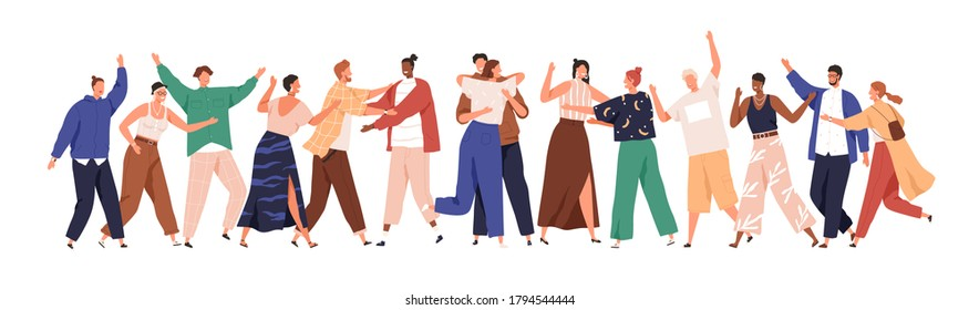 Crowd of happy diverse hugging people. Concept of friendship day, unity. Celebration or congratulation of multiracial students or friends. Hugs flat vector cartoon illustration isolated on white.