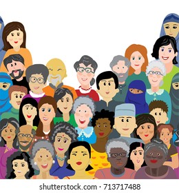 A crowd of happy and healthy people of different ages, nationalities, religion. Vector object or illustration on a white background.