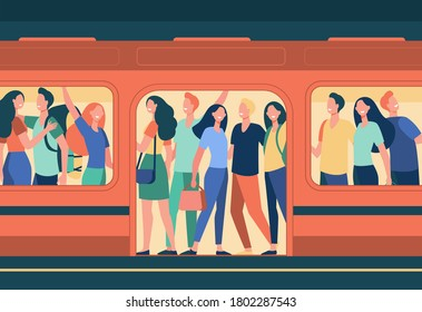 Crowd of happy people travelling by subway train. Passengers standing in overcrowded subway car at station. Cartoon illustration for overpopulation, rush hour, public transport, commuters concept